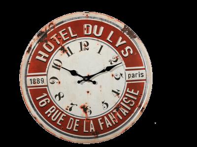 Metalen retro klok Hotel Du Lys klok  retro