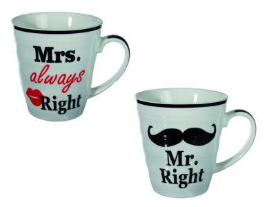 Mr. Right & mrs. Always Right mokken mokken  mokkenset  mr. and mrs. right