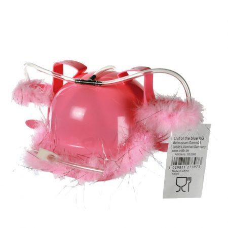 Bierhelm Pinky bier  helm  blikjes  drank  houders  roze  vrouwen  veertjes  pinky  kado  kado's  cadeau  cadeaus  gift  gifts  gadget  gadgets  voor haar  voor vrouw