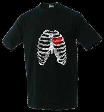 Unisex T-shirt Ribs and heart-black-L