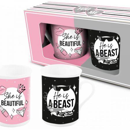 Set van 2 mokken She is beautiful + He is beast mokken  mokkenset  beauty  beast  valentijn